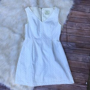 Kate Spade White Eyelet V-neck Dress